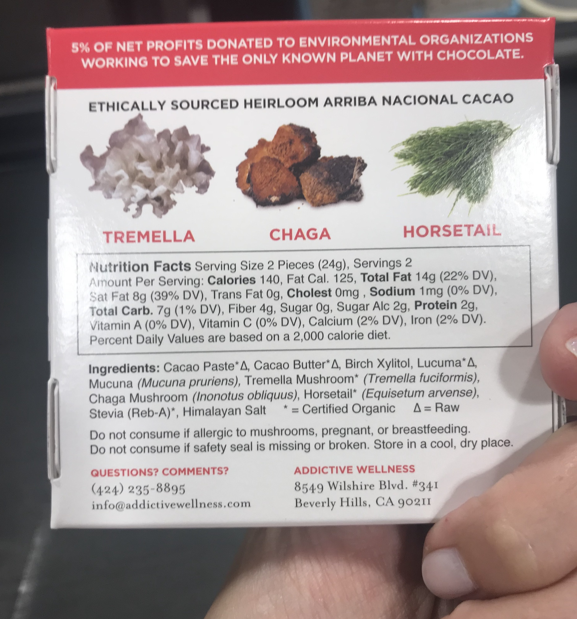 ingredients in addictive wellness chocolate